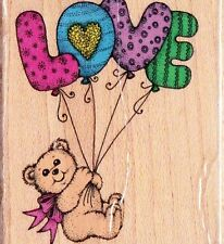 Hero Arts BEAR CARRIED AWAY by L-O-V-E Mounted Rubber Stamp E 476 1991