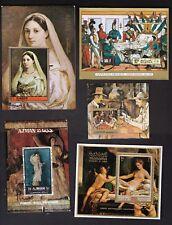 5 Scans = = * ART *  = 20 Different Souvenir Sheets = Nudes - Napoleon, etc.