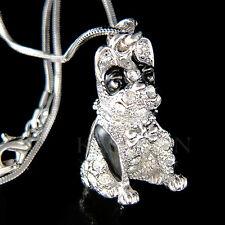 w Swarovski Crystal English French ~3D Bulldog American Dog Charm Chain Necklace