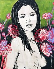 """DAVID BROMLEY Nude """"Mallory With Flowers"""" Signed Limited Edition Print, 70 x 55"""