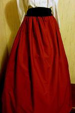 Red SCA/renaissance/Civil War/VIctorian/Gothic/Steampunk Skirt with black sash
