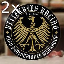 2x pieces Blitzkrieg Racing Werkshop sticker decal aircooled hot rod eagle gold