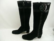 d091421469c44b Tory Burch Edith Black Suede Patent Snakeskin Trim Boots Sz 10.5 M