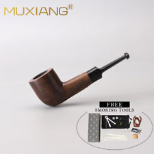Ebony Wood Tobacco Pipe Straight Small Pocket Smoking Pipe with Accessories Gift