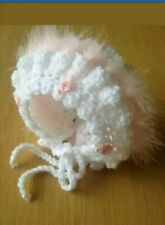 Newborn Baby Girl White Crochet Bonnet With pink  Marabou And pink Rosebuds
