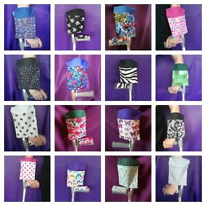 Crutch Cuff Bag -Handsfree Carry Pouch -Matching Padded Handle Covers Available!