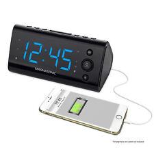 Magnasonic Alarm Clock Radio with USB Charging for Smartphones & Tablets