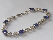 Ladies Sterling 925 Fine Solid Silver White Sapphire & Purple Tanzanite Bracelet