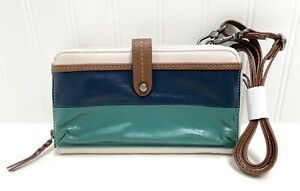 The Sak IRIS Clutch Wallet w/Crossbody Strap Cream w/Blue Green Stripe NWOT