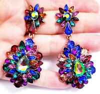 Chandelier Earrings Rhinestone 2.9 in Multi Color