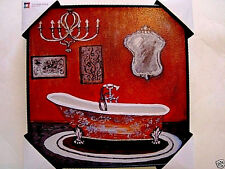 """REVERSE SHADOW BOX PAINTING,VICTORIAN STYLED BATHROOM,12"""" X 12"""" X 2"""" FRAMED,NEW"""