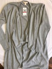 NWT $88 Michael Kors Women's Silver Long Sleeve Cardigan Sweater Size XS