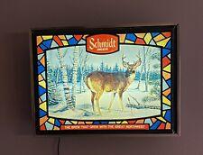 1976 Schmidt Beer Whitetail Deer Lighted Sign Light Heilemans old style 3D Wis