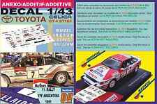 ANEXO DECAL 1/43 TOYOTA CELICA GT4 M.ERICSSON R.ARGENTINA 1991 6th (03)