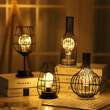 Vintage Retro Table Lamp Shade Metal Wire Cage Lamp Night Light Battery Operated