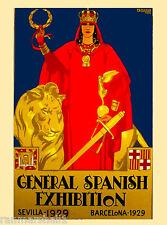 1929 Sevilla Seville Spain Europe European Vintage Travel Advertisement Poster