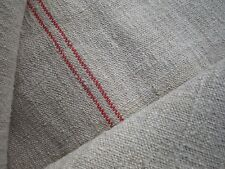 ANTIQUE FRENCH LINEN GRAIN SACK - RED STRIPED GRAIN SACK - LARGE GRAIN SACK