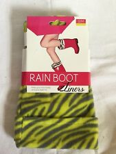 Blue Star Rain Boot Fleece Liners Green & Gray Zebra Print S/M Shoe Size: 5-7
