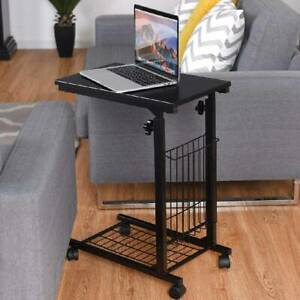 Adjustable Sofa Bed Side End Table C Shape Coffee Tea Tray Laptop Stand Holder