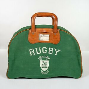 Ralph Lauren Rubgy Green Canvas Leather Trim Bowling Bag Style Tote Bag