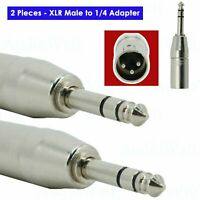 2x 3-Pin XLR Male to 1/4 Adapter, TRS Stereo Plug Converter Audio Connector