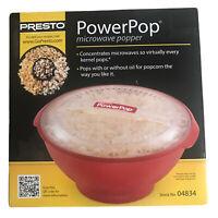 PRESTO Power Pop Microwave Popcorn Popper BRAND NEW SEALED Red 04834 PowerCup
