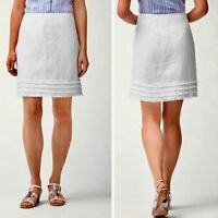 Tommy Bahama Womens Skirt Size 10 White Two Palms Linen Tiered Fringe Hem New