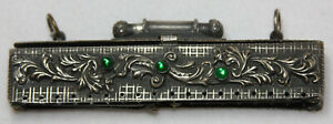 Antique Beaded Purse Square Open Metal Frame with Green Glass Jewels