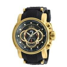 Invicta S1 Rally 19327 Mens Gold Tone Date Chronograph Black Silicone Band Watch