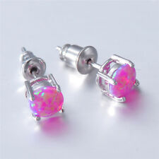 6mm Round Purple Fire Opal Stud Earrings Womens Fashion 925 Silver Plated 1 Pair