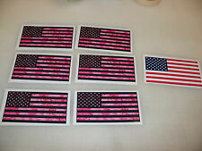8 PINK CAMO USA FLAG Sticker Decal LOT 4 boat car Window Truck SUV American