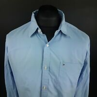 Tommy Hilfiger Mens Shirt LARGE Long Sleeve Blue Custom Fit No Pattern Cotton