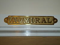 Brass Admiral Plaque Hand Casted Door Sign - Captain Cabin/Bar/Pub Nautical Gift