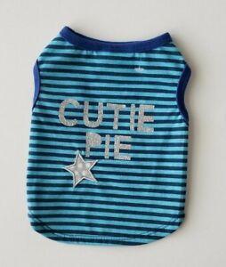 "Top Paw Dog SMALL Striped T Shirt Blue w/ Silver Glittery ""CUTIE PIE"""