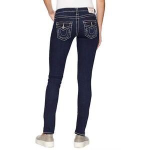 TRUE RELIGION Blue Skinny Stretch Big T Jeans Womens W24 RRP $249