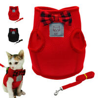 Escape Proof Cat Walking Harness & Leash Set Adjustable Mesh Vest for Pets Puppy