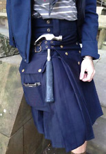 MENS' SNAP BUTTON NAVY BLUE UTILITY KILT with free DHL Shipping