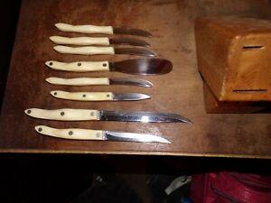 Cutco Wood Block 1759 1768 1721 1729 1720  Knife Set White