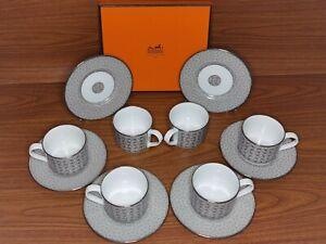 Hermes Coffee Cups mosaique au 24 platinum Plates 6 pc