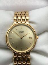 Citizen Vintage Men's Slim  Quartz  Analogue Gold Plated Date Bracelet Watch