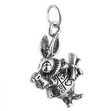 White Rabbit Charm - 925 Sterling Silver - Alice in Wonderland Watch Date NEW