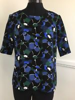 Laura Ashley Ladies Summer Top 10 UK Short Sleeve Navy, Blue Green Blouse