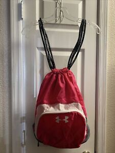 Under Armour Womens Backpack Gym Bag Nylon Cinch Sack Hiking Biking Hot Pink NEW