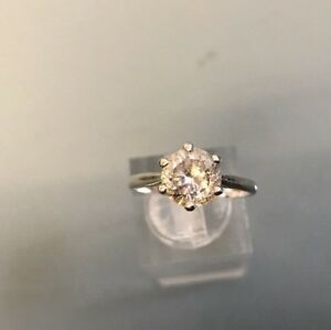 Women's Silver Solitaire CZ Stone Ring Size O Weight Stamped Weight 2.7g