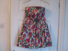 TopShop floral strapless dress, size 10, boned top, lined,netting, exc condition