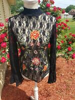 Bohemian Lace Blouse Top Medium Floral Stretch  Festival Bell Sleeve Embroidered