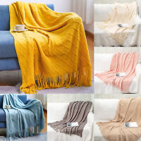 Large 100% Cotton Fringed Tassel Blanket Furniture Bed Chair Sofa Throw 172cm