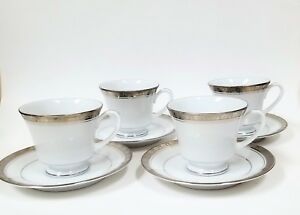 SET OF 8 PC FOR 4 NORITAKE LEGACY PLATINUM WHITE+SILVER TRIM 4 TEACUP+4 SAUCER