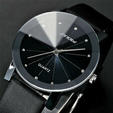 New Classic SINOBI Analog Fashion Leather Strap Wrist Quartz Watch Black For Men