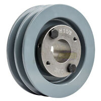 """Cast Iron 4"""" 2 Groove Dual Belt A Section 4L Pulley w/ 1-1/8"""" Sheave Bushing"""